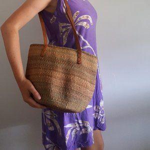 1980's Woven Market Bucket Bag